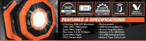 SP Tools Compact Cob LED Work Light 700 Lumens