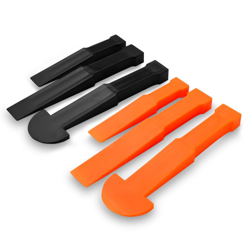 Contents: 1x Small orange wedge tool 1x Medium orange wedge tool 1x Large orange wedge tool 1x Small black wedge tool 1x Medium black wedge tool 1x Large black wedge tool  Features: Curved tip with model handle 6 piece non-marring pry and trim tools Super-fine tips fit into the tightest gaps High-quality nylon construction prevents scratches to painted & delicate panel service Orange wedges are made of a flexible polyethylene material for softer prying jobs Black wedges are made of high impact polycarbonate material for harder prying jobs  Applications: Body work Upholstery Dashboards Air Vents Door panels Auto restoration Sheet metal panels Electronics installation Thin-walled aluminum engine covers
