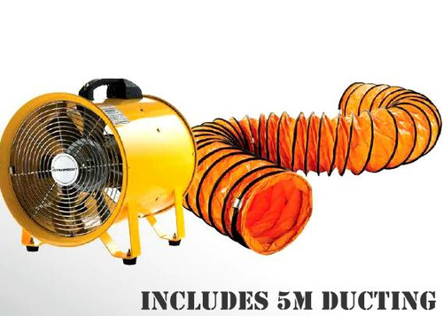 Built for endurance & extended performance, this fan features a powerful 520W motor with an air delivery of 60m3 per minute and 1400 rpm. Equipped with a heavy duty safety grille plus anti vibration mounts, this 2 in 1 unit provides ultimate functionality for premium use on any commercial site. • Air delivery 60m3/min • 2 in 1 blows or extracts • Powerful 2800rpm, 520w motor • Use as a blower for drying paint • Extracts fumes, odours, dust, stale and hot air • Heavy duty safety grille and anti vibration mounts • Quality 14kg construction for longevity and strength • Suitable for ventilating workshops and confined areas • Portable with robust carry handle and on/off safety switch  Also includes an extended ventilation this unit fits the Dynabreeze exhaust fan 300MM Power Fan Hose 300mm x 5 metre • Suits Dynabreeze 300mm Power Fan • Blow or extract with extended range • 60m2/min volume capacity • Heavy duty, flexible and reinforced PVC • 4 reinforced metal hanging points