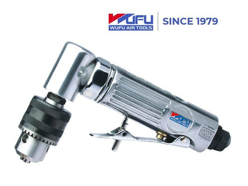 """Features: High efficiency Powerdyne motor. Durable and lightweight die cast aluminium body Convenient for one hand operation with safety trigger for easy start Ideal for tire changing and general assembling work and other workshop applications.  Specs: Angle 90° Air Inlet 1/4"""" Keyed Chuck 3/8"""" Free Speed 15000 RPM Length 170 mm, 6.7 in Weight 0.64 kgs, 1.41 LB Air Pressure 90PSI, 6.3 Kg/cm2 Average Air Consumption 4 cfm, 113 L/min"""