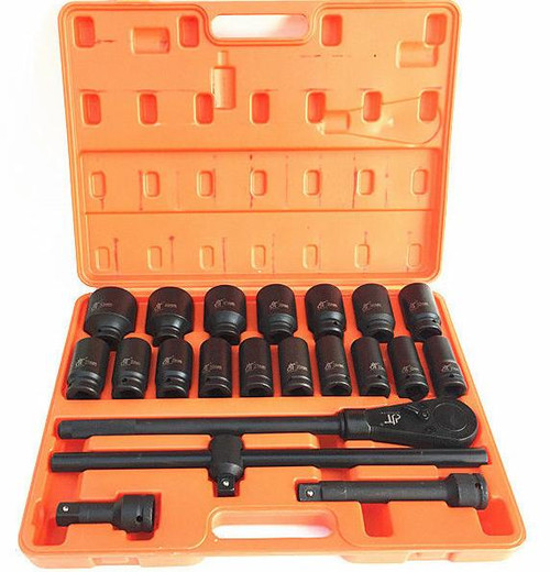 "Contents: 1 x (3/4"" x 490mm Ratchet) 1 x (3/4"" x 200mm Extension) 1 x (3/4"" x 100mm Extension) 1 x (3/4"" x 480mm Sliding T Breaker Bar)  Deep Sockets: 21mm, 22mm, 23mm, 24mm, 26mm, 27mm, 28mm, 29mm, 30mm, 31mm, 32mm, 34mm, 36mm, 38mm, 41mm, 46mm, 50mm"