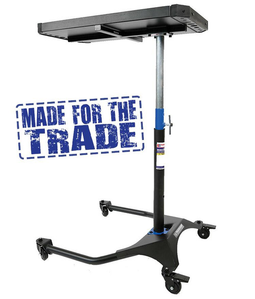 "The Heavy Duty steel construction makes this TradeQuip ""Made for the Trade""  Mobile Workshop Table durable enough for moving tools and car parts to and from the vehicle. Easily handles loads up to 45kg. Solid composite rubber castors ensure you can manoeuvre this mobile workshop table around the workshop without marring the floor. The height adjustment gives you plenty of options for lowered cars or SUV's. This very versatile mobile work top makes any installation or service work flow more efficiently for auto repairers and installation workshops.  Features Strong tubular steel construction Handy tool storage holders Protective Bumper for top tray Smooth rolling composite rubber castors Height adjustable to most vehicles Sturdy main support post   Specifications Safe Working Capacity: 45kg Adjustable Working Height: 900-1230mm Castor Wheel Diameter: 75mm Table Top Dimensions: 809L x 475W x 42Hmm Main Tray Dimensions: 580L x 308W x 38Hmm Overall Dimensions: 870L x 755W x 942Hmm Nett Weight: 19.5kg"