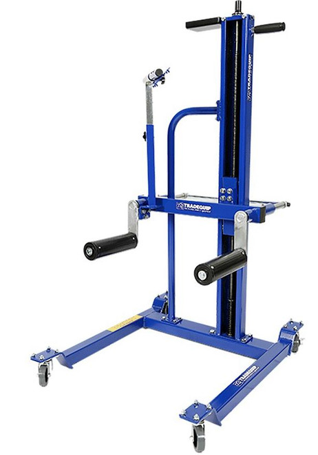 """The TradeQuip """"Made for the Trade"""" Wheel/Tyre Lifter is characterized by a pair of laterally spaced lifting arms that raise and lower in unison and are so, arranged as to contact the vehicle tyre at two areas on its circumference to raise or lower a wheel/tyre combination for the purpose of removing, transporting, and replacing wheel and tyre combinations. The lifter's drive screw can be activated by an air or battery-operated impact gun from the top of the unit in a vertical position or through a gear box in a horizontal position if installed. The intent of the lifter is to remove risk of back or other injury to technicians.  Features Braked Swivel Castor Sturdy Frame to safely transport wheel around workshop Adjustable Safety Brace Specifications Safe Working Capacity: 50kg Lift Range from Roller Top to Ground: 93 ~ 1078mm Roller Diameter & Length: (D) 76.2 x 240mm Rollers Moving Distance: 125mm  Rollers Push Force: <4kg based on 50kg load Lifting Handle Force: 1kg based on 50kg load Front Castors: 2(D) 75 x 24mm Rear Castor - Locking: 2(D) 75 x 24mm Base: 876(L) x 720(W) x 101.6(H)mm Weight: 51.25kg"""