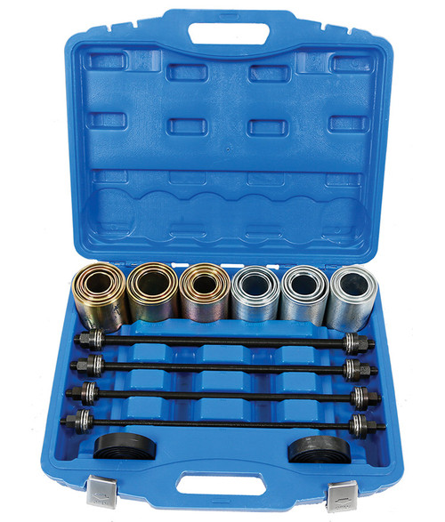 """This versatile TradeQuip Universal Press and Pull Kit Set includes everything you need to remove and install bushes, bearings and seals. Constructed from heat-treated forged high carbon steel, this durable set is perfect for the removal and installation for Bearing bushes ,Silent bearing ,Hydraulic bearing and Rubber bearing. This units comes in an individually organised carrying case, making it perfect for both the automotive professional or serious DIY enthusiast. The professional """"Made for the Trade"""" 26pce Press and Pull Sleeve Kit has applications across several industries.  Features 20 Sleeves Constructed from heat-treated forged carbon steel Sturdy Blow Mould Case  Specifications 4 Beams 3 ½"""" Sleeves 20 Sleeves 11pieces (GOLD) - OD44xID34; OD46xID36; OD54xID44; OD56xID46; OD58xID48; OD66xID56; OD68xID46; OD58xID48; OD66xID56; OD68xID58; OD70xID460; OD78xID68; OD80xID70; OD82xID72 9pieces (SILVER) - OD48xID38; OD40xID30; OD52xID42; OD60xID50; OD62xID52; OD72xID62; OD74xID64; OD76xID66  Intended Use This PRESS & PULL SLEEVE KIT intended us is for the removal and installation of bushes, bearings and seals, races, bearings, sprockets and pulleys on cars, trucks, off-road construction equipment and machinery"""