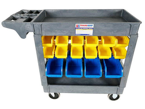 Tradequip Polymer Trade Tool Cart W/32 Storage Parts Bins