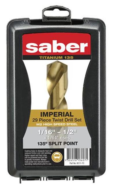 Saber Fractional 29p TiN Coat M2-HSS Jobber Drills 75% Off!