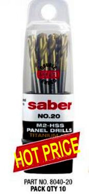 "Saber 20 Gauge TiN Coat HSS Dual End Panel Drill 10 Pack For 5/32"" Rivets"