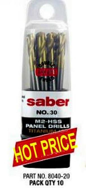 "Saber 30 Gauge TiN Coat HSS Dual End Panel Drill 10 Pack For 1/8"" Rivets"