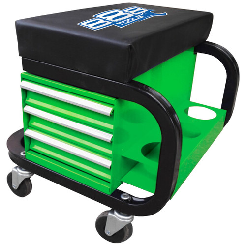 Roller Seat 888 (by SP Tools ) 3 Drawer with Can Holder Green