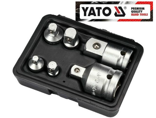 """Yato trade quality 6 Piece Adaptor Set – Chrome Vanadium on socket rail. Great value be quick for this one! Every adapter you will ever need!  You get the following configurations: 3/8 """"(9,5 mm) M x 1/4"""" (6,3 mm) F 3/8 """"(9,5 mm) F x 1/2"""" (12,7 mm) M 3/4 """"(19 mm) M x 1/2"""" (12,7 mm) F 1/4 """"(6,3 mm) M x 3/8"""" (9,5 mm) F 1/2 """"(12,7 mm) F x 3/8"""" (9,5 mm) M 1/2 """"(12,7 mm) M x 3/4"""" (19 mm) F  Features: Allows conversion between socket drives Spring loaded ball bearing holds socket securely Manufactured from Chrome Vanadium Steel, hardened, tempered, chrome plated for corrosion protection"""