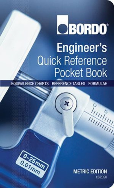 An essential reference for any workshop. 50 laminated pages of charts, tables and formulae in a handy 90x148mm pocket book.  Contents includes Conversion Factors Drill Size and Decimal Equivalent Charts Tapping Drill Sizes for Thread Cutting Taps Tapping Drill Sizes for Thread Forming Taps Preferred Fits for Standard Engineering Components Preferred Limits and Fits (ISO 286) Hardness Comparison Chart Coordinates for Locating Equally Spaced Holes Standard Wire Gauges Standard Sheet Metal Gauges Sheetmetal Bending Sheetmetal Bending Allowances Morse Taper Shanks / Sockets / Sleeves M2 HSS Drill Surface Speeds, RPMs, Feeds & Thrusts Annular Cutter Surface Speeds and RPMs Cobalt Bi-Metal Hole Saw Speeds Tungsten Carbide Burr Speeds HSS Reamer Surface Speeds & Feeds Numerical Control (CNC Programming) Common Engineering Abbreviations Triangle Geometry Oblique and Right Angled