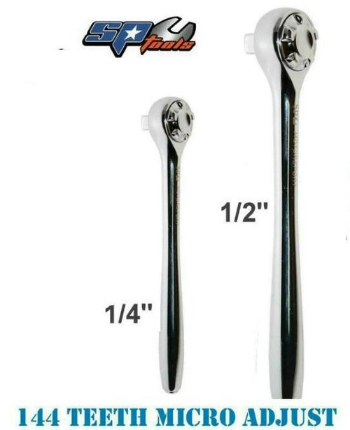 """Incredible clearance offer here!  Get 2 of these super smooth micro adjustable SP Tools 144 Teeth Ratchets for less then the price of one! So you get the 1/4 and 1/2"""" 144 teeth Ratchets  for LESS then the price of the 1/2"""" (which as a list price of $147!)  Features: Reversible Lifetime Warranty Tough triple chrome finish Chrome Vanadium Steel (Cr-V) for high durability Meets & exceeds international ANSI & DIN standard Specially strengthened ratchet gear teeth to sustain maximum applied torque Super Micro adjust 144 Teeth, ideal for confined applications where you have limited space to turn the handle"""