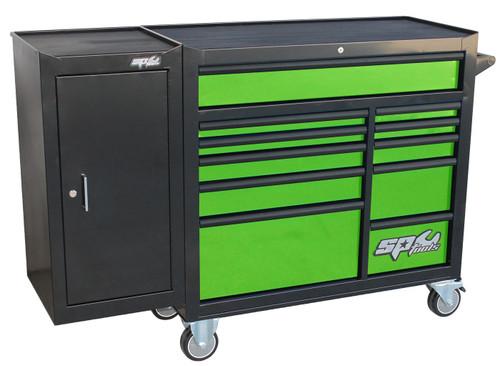 SP Tools 11 Drwr Custom Roller Cabinet Bonus Side Locker Green