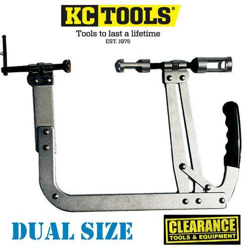 Be quick for this hot price on these high quality KC Tools Valve Spring Compressors at over 65% off list price!  Features: Collet release adaptors. Maximum throat depth: 230mm Jaw opening 35mm minimum to 200mm maximum Suitable for large petrol and diesel engines. Universal compressor with strong adjustable cam-action Parallel lift and automatic locking suitable for small to medium OHV engines