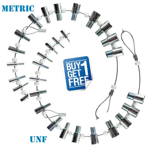 Accurate & fast thread identifier for both nuts & bolts. Super price here guys get the metric and the UNF for one hot price! Both sets come with wire cable hanging loop so you can't lose them!  Sizes: UNF: 6-32, 8-32, 10-24, 10-32, 1/4-20, 1/4-28, 5/16-18, 5/16-24, 3/8-16, 3/8-24, 7/16-14, 7/16-20, 1/2-13, 1/2-20.  Metric: M4-0.7, M5-0.8, M6-1.0, M7-1.0, M8-1.0, M8-1.25, M10-1.0, M10-1.25, M10-1.5, M12-1.25, M12-1.5, M12-1.75.