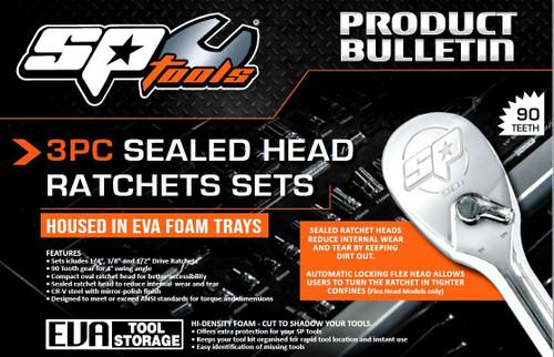 SP Tools New 3Pce Sealed Flex Head 90T Ratchet Kits In EVA Tray