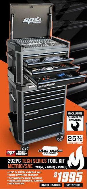 SP Tools 292Pce AF/Metric Tech Series Toolkit.  Hot Price!