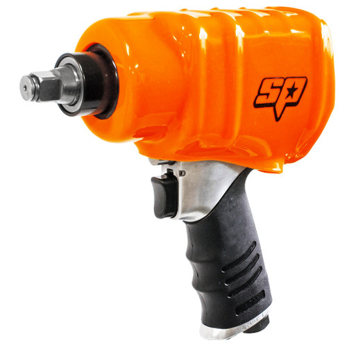 SPECIFICATIONS: Bolt Busting Torque: 1140Nm Max Torque: 815Nm Working Torque: 500Nm Length: 240mm Capacity: 16mm Weight: 2.6kg Air consumption: 870L/min Max  FEATURES Ideal for the tyre industry Industrial twin dog hammer mechanism 4 torque settings Forward/reverse Powerful & durable Handle exhaust