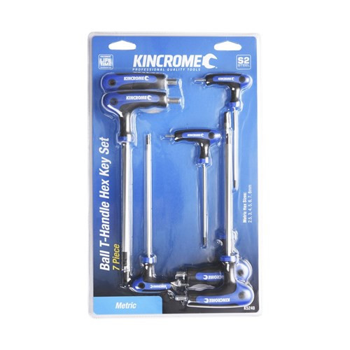 The Kincrome moulded T-handle range offers a premium solution for professional and DIY users who prefer the speed and ease of access offered by the T-handle design. Moulded T-handles offer greater ergonomics for increased torque and feature a ball-end for up to 25-degree entry angle. The long shank is ideal when working on hard to reach areas, giving better access.  Each T-handle is manufactured from S2 steel, incorporating a moulded grip to increase user comfort, reduce hand fatigue and maximise torque. FEATURES • Ball-end for up to 25-degree entry angle • Long shaft • Moulded grips CONTENTS 2.5, 3, 4, 5, 6, 7, 8mm