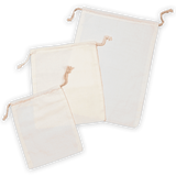"6"" x 10"" Premium Double - Drawstring 130 GSM Cotton Muslin Bags - 100 Count"