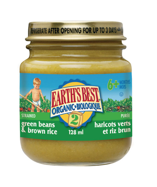Earth's Best Organic Green Beans & Brown Rice Baby Food 128mL