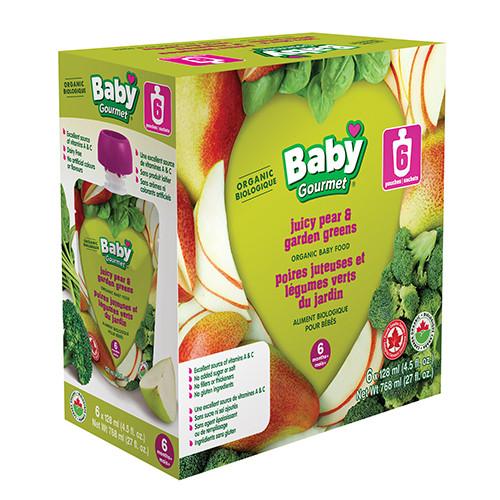 Baby Gourmet Juicy pear & garden greens 6 pack 6 x 128mL