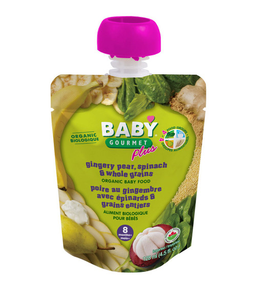 Baby Gourmet Plus Gingery Pear, Spinach & Whole Grains 128mL