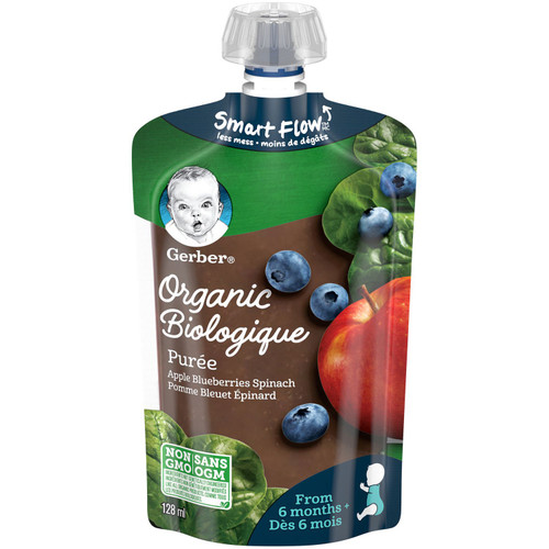 GERBER Organic Pur_e, Apple Blueberries Spinach 128mL