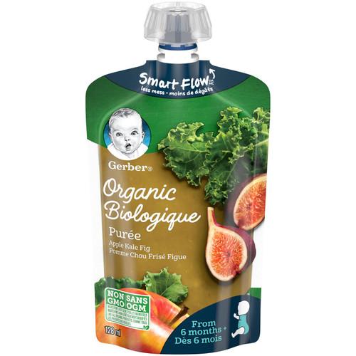GERBER Organic Pur_e, Apple Kale Fig, Baby Food 128mL