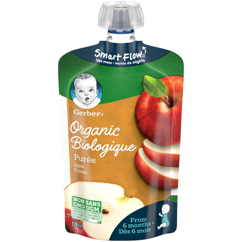 GERBER Organic Pur_e, Apple, Baby Food 128mL