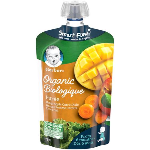 GERBER Organic Pur_e, Mango Apple Carrot Kale 128mL