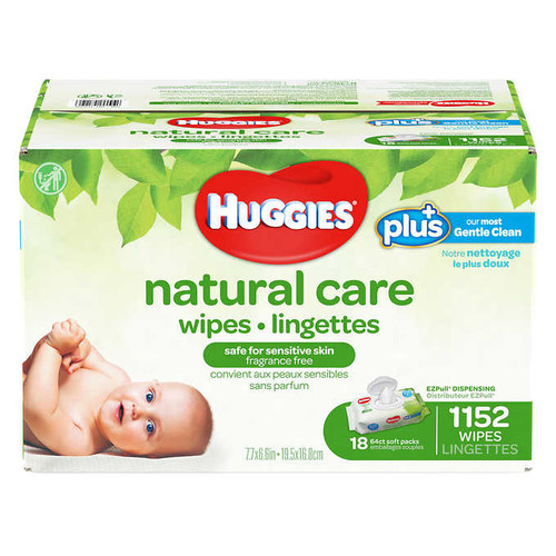Huggies Natural Care Plus Wipes 18 packs of 64