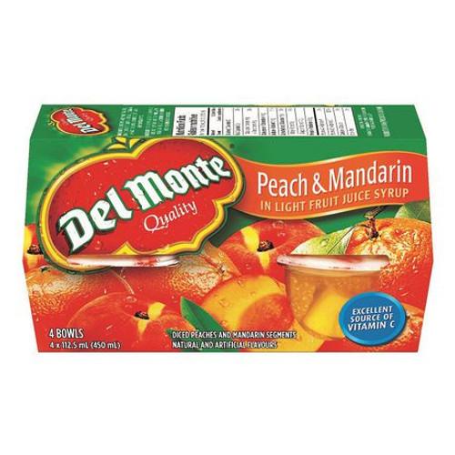 Del Monte Peach & Mandarin In Light Juice Syrup 4 Bowls