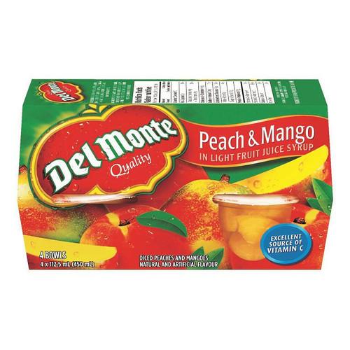 Del Monte Peach & Mango In Light Juice Syrup 4 Bowls