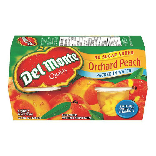 Del Monte Peach Diced In Water 4 Bowls