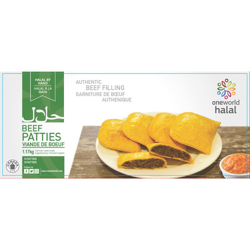 One World Halal Beef Patties Mild 9 Patties