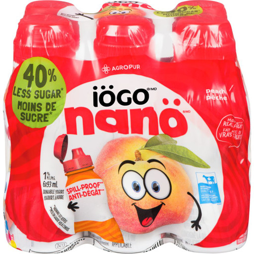 IOGO Nano Drinkable Yogurt Peach 1% 6x93mL