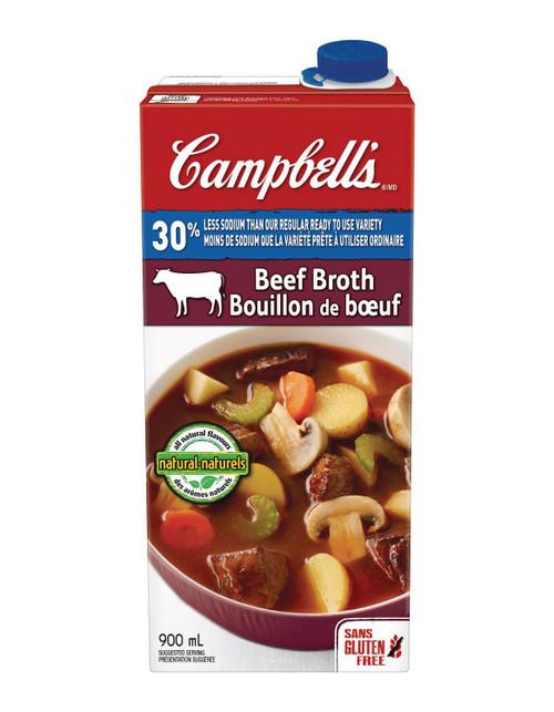 Campbell' 30% Less Sodium Beef Broth 900mL