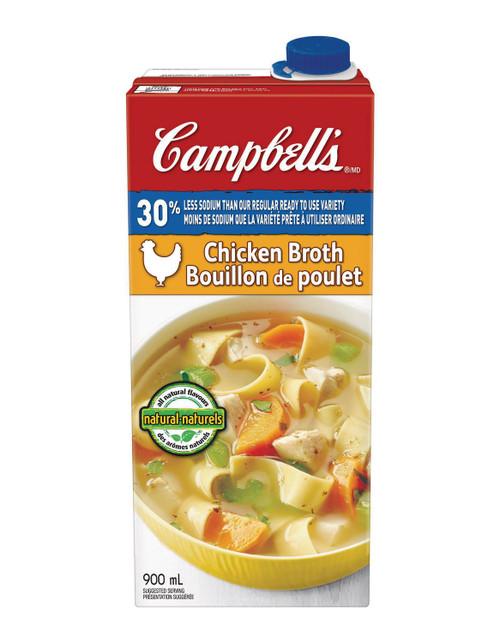 Campbell's 30% Less Sodium Chicken Broth 900mL