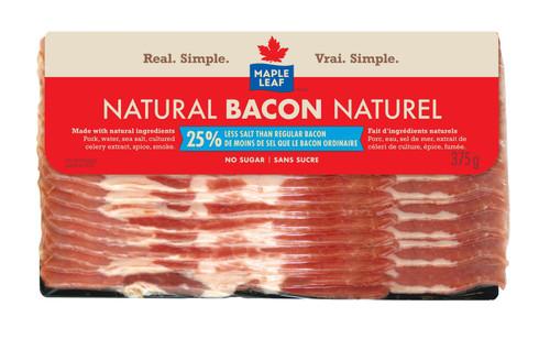 Maple Leaf Natural Bacon, Salt Reduced 375g