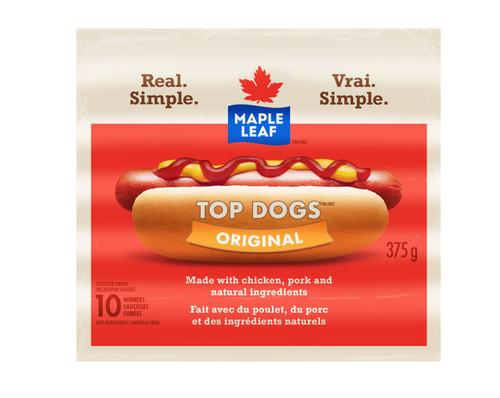 Maple Leaf Top Dogs Wieners Original Regular 375g