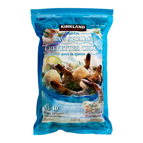 Signature Frozen Chemical-free 31-40 Tail-on Raw Shrimp 907g