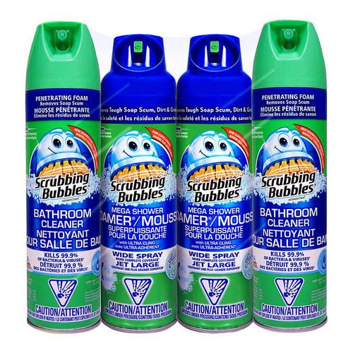 Scrubbing Bubbles Mega Shower Foamer and Bathroom Cleaner Aerosol ComboPack of 4