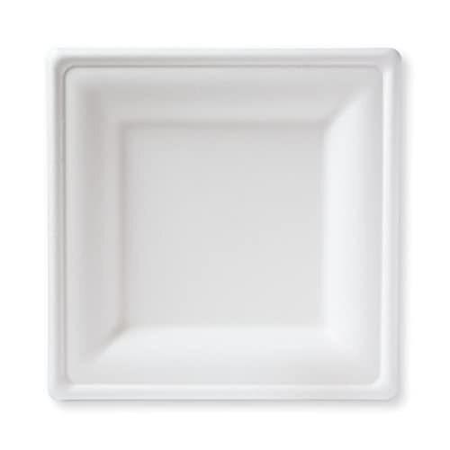 "Paper Plate Square White 9.5"" 1000/cs"