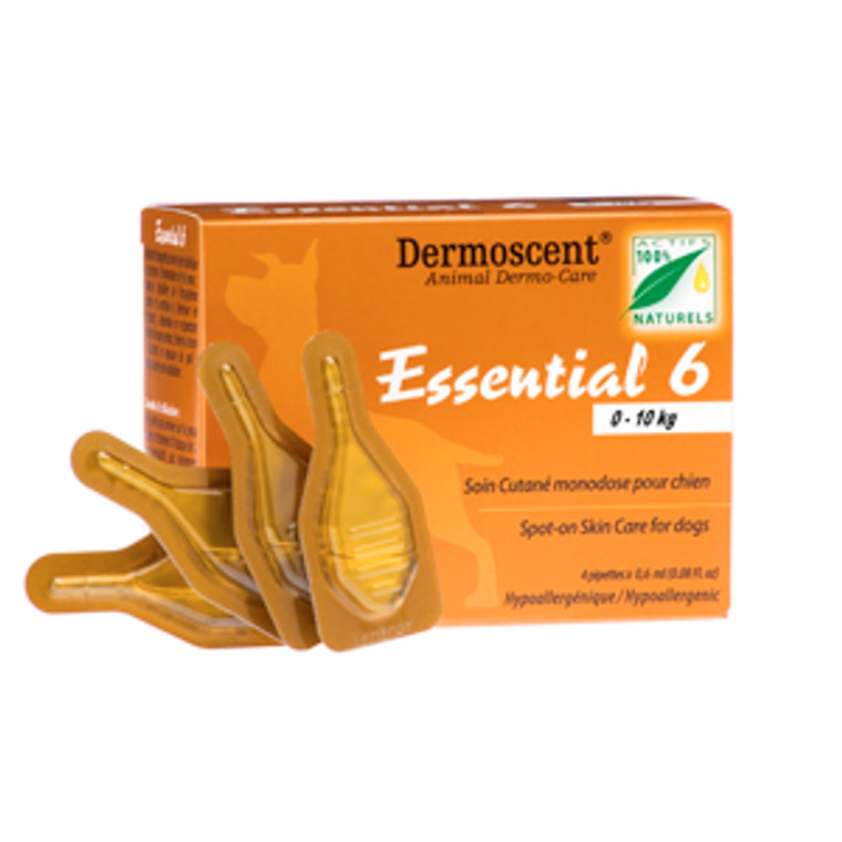 Dermoscent Essential 6 Spot-on for Small Dogs 0-22 lbs (0-10 kgs) - 4 Pack