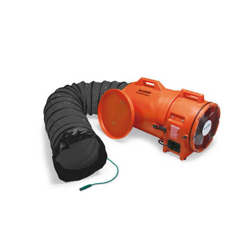 """12"""" Axial Explosion-Proof (EX) Plastic Blower w/ Canister & 15' Statically Conductive Ducting, 47 lbs."""
