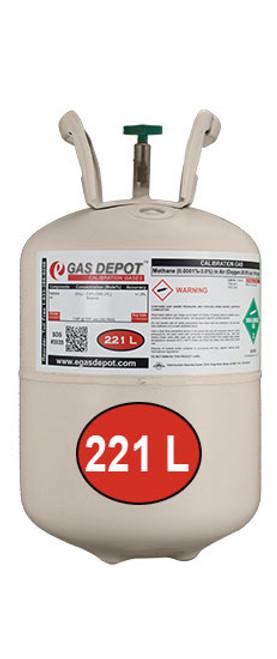 221 Liter-Carbon Monoxide 50 ppm/ Methane 1.0% (20% LEL)/ Oxygen 20.9%/ Nitrogen