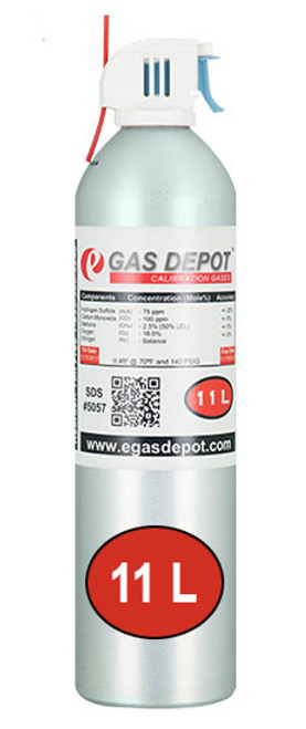 11 Liter-Carbon Monoxide 50 ppm/ Hexane 0.18% (15% LEL)/ Oxygen 12.0%/ Nitrogen