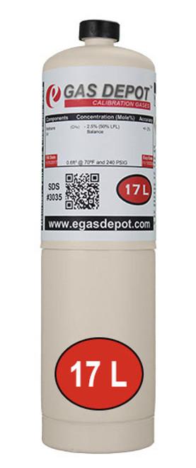 17 Liter-Carbon Monoxide 50 ppm/ Hexane 0.18% (15% LEL)/ Oxygen 12.0%/ Nitrogen