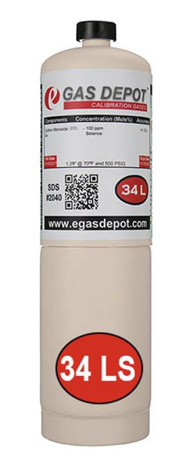 34 Liter-Carbon Monoxide 100 ppm/ Pentane 0.75% (50% LEL)/ Oxygen 19.0%/ Nitrogen